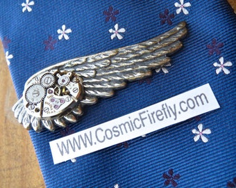 Steampunk Tie Clip Silver Wing Tie Clip Vintage Watch Movement Silver Tie Bar Gothic Victorian Men's Tie Clip Gifts For Him