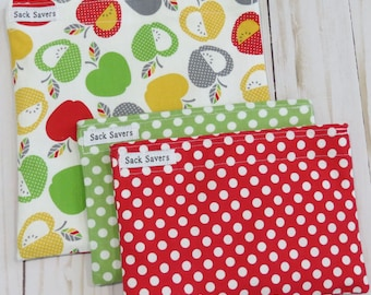 Reusable Sandwich and Snack Bag Set of Three Apples Red Green Polka Dot