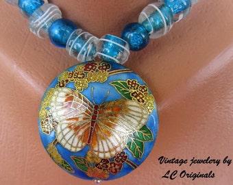 Vintage cloisonné butterfly necklace