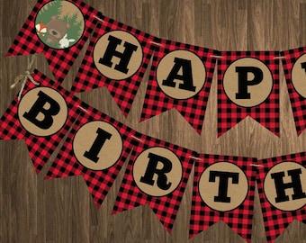 Lumberjack Birthday banner, Lumberjack happy birthday banner, Lumberjack birthday decorations, Buffalo plaid banner, Woodland birthday