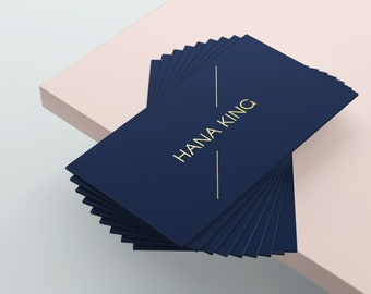 Gold Business Card, Blue Business Card, Business Card Design, Business Card Template, Premade Business Card, Custom Business Card