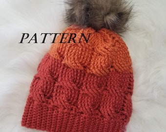 Crochet Beanie Pattern pdf file / Crochet Cable Beanie Pattern / Cable Crochet / Cabled hat / Instant Download