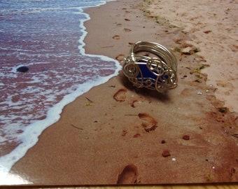 Sea Glass Ring (8.5) Sea Glass Jewellery, Cobalt Blue SeaGlass Geniune SeaGlass, Beach Wedding Jewelry, PEI SEA GLASS
