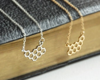 Honeycomb necklace, Honey Bee necklace, Hexagon necklace, Honey comb jewelry, Beehive jewelry, Bee pendant, Bee keeper gift, Fun necklace