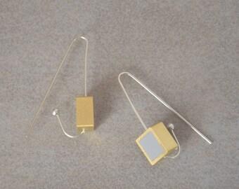 Silver and gold earrings, Long silver earrings, Polymer clay earrings, Hook earrings, Arc earrings, Geometric earrings, Square earrings