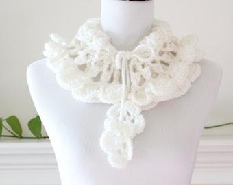Crocheted Cream Scarf