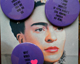 Playful, mischievous, creative badges/buttons, 'Frida love' xxx