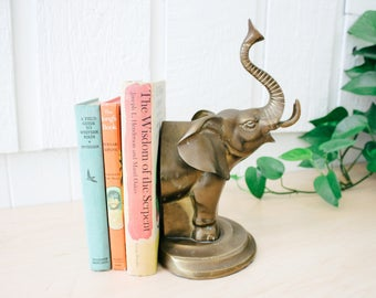 Vintage brass elephant bookend boho style decor solid brass book end
