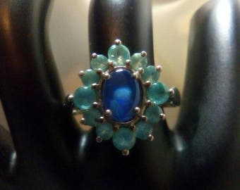 Opal Triplet with Zambian Emerald Sterling Silver Ring May and October Birthstone OOAK