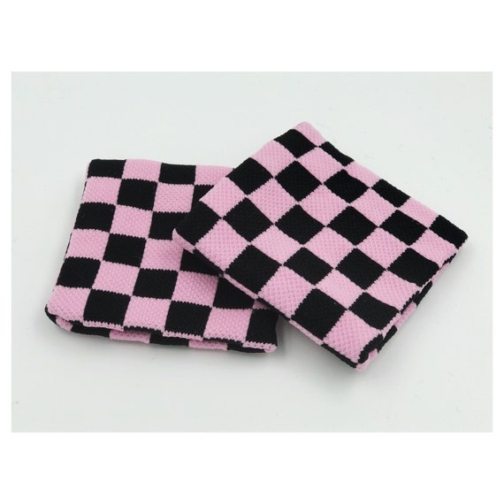 Checker Print Wrist Sweatbands 2 Pack - Sporty Pink Black Checkerboard Accessory - Sporty Trendy Skater Girl Wristbands Aethletic Armbands