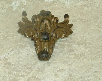 Antique Cast Iron Brass Ornate Corner Triangle Bracket Victorian floral design