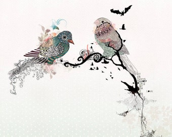 Collage & Mixed Media, Animals painting,  Birds decor, Original watercolor Ink drawing