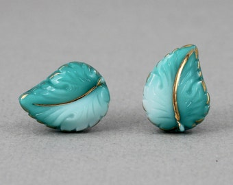 Teal Green Leaf - vintage glass button stud earrings, repurposed up cycled surgical post earrings