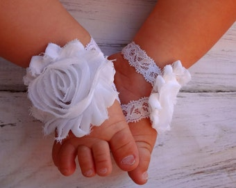 White Lace Baby Barefoot Sandals - Newborn Sandals - Baby Shoes - Photography Prop - Baptism Barefoot Sandals - Preemie Sandals