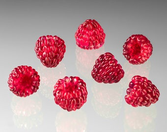 1 Red Raspberry Glass Sculpture, life-sized hand blown glass art  birthday gift, Mother's Day gift for cook, gardener, chef, gourmet