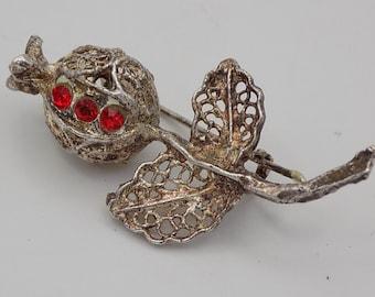 Vintage brooch, leaf shaped, silver filigree and three red crystals, luxury, Paris Vintage brooch Vintage, gift, 19 century