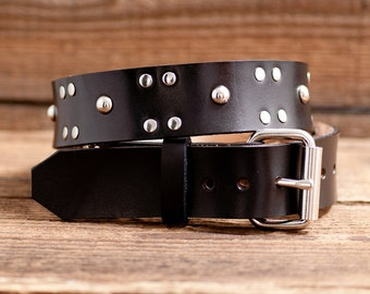 Studded leather belt, Full Grain Leather Belt, Black Leather Belt,