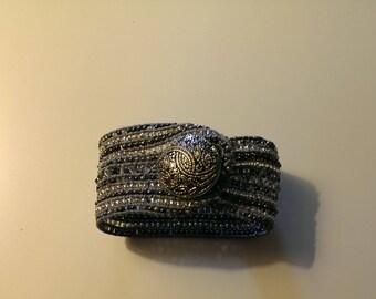 Wrap Style Beaded Cuff Bracelet