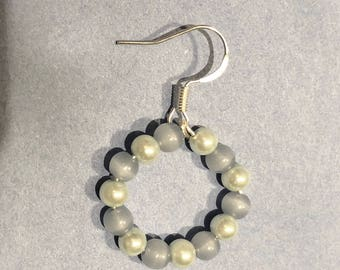 Periwinkle and light blue pearl circle earrings
