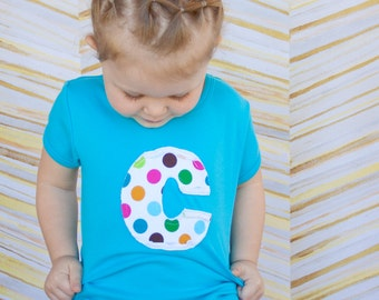 Personalized Girls Shirt, Turquoise, Applique Monogram Tee, sizes 12m to 8y