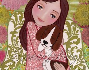 Angel and Dog, Print Of Original Art ,Mix Media, Folk Art, Wall Decore by Evona
