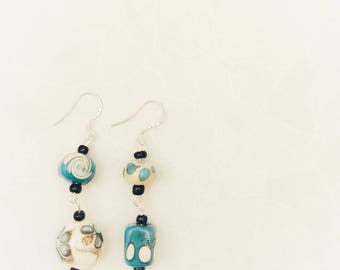 Mismatched earrings, blue ceramic earrings, gifts for her,