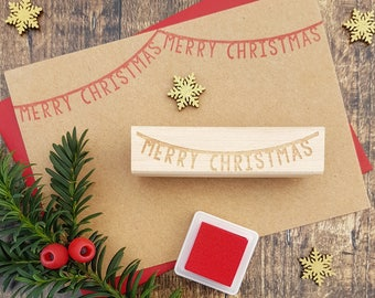 Merry Christmas Bunting Rubber Stamp  - Christmas  Stamp - Scrapbooking - Christmas Card Making - Banner Stamp - Happy Christmas - Letters