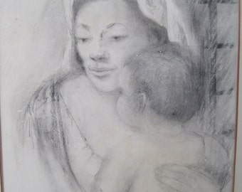 Bleistift Zeichnung Mutter und Kind von börsennotierten Künstlerin Doris Rohr Mitte des Jahrhunderts