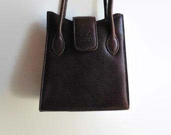 Burgundy Leather Small City Bag - Crossbody Purse, Womens, Vintage Box Purse, Shoulder Bag, 90s Handbag, Leather Bags Women, Long Straps Bag