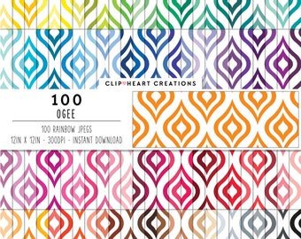 100 ogee digital paper ogee digital paper commercial use clipart paper ogee pattern  ogee rainbow paper pattern ogee diamonds cute clipart