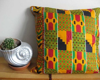 Living Room Decor, Green, Black, Orange Pillows, Living Room Pillows, African Print Pillow, Dorm room decor, Cushion Cover, New Home Gift
