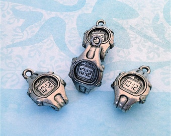 Stop Watch/Clock Charms ---6 pieces-(Antique Pewter Silver Finish)--style 825-