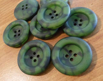 """8 Olive Green Speckled Frost Large Round Buttons Size 1 3/16"""""""