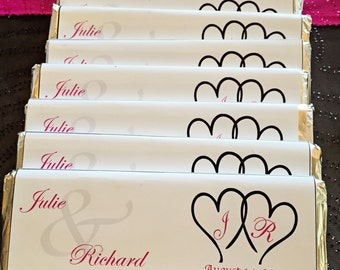 Monogramed  Personalized Wedding Candy Bar Wrapper