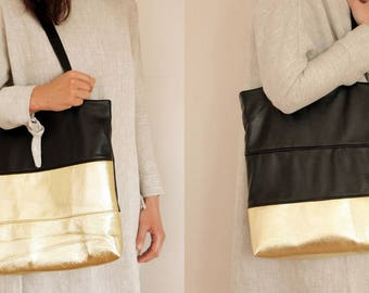 Womens leather tote bag Black and gold leather tote bag