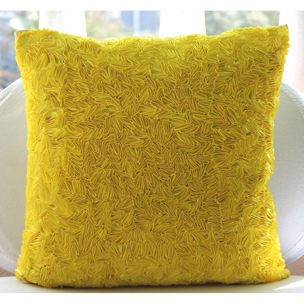 Handmade Yellow Throw Pillows Cover 15x15 Silk