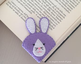 Bunny. Felt corner bookmark. Cute accesories. Gifts for young readers. Books accessories.Back to school bookmark. Handmade