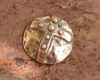 Artisan Buttons, Sterling Silver Dotted Cross Button Clasp