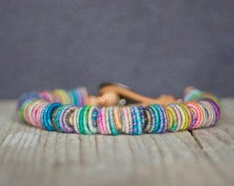 Beaded Bracelet, Bohemian Chic, Fabric Textile Beads