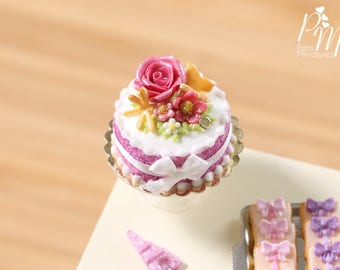 MTO-Pink Rose and Flowers Cake - Miniature Food in 12th Scale for Dollhouse
