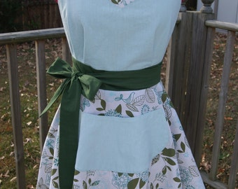 Vintage Pin-Up Inspired Birdy Blue Apron
