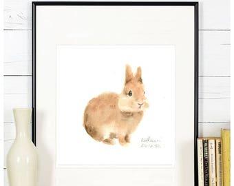 "Original watercolor,bunny painting,""bunny N.2"",original painting,6""x6"",home decor"