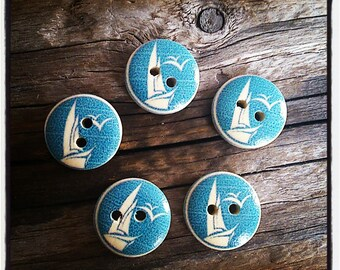 set of 5 wooden pattern buttons sailor sea two hole 15mm