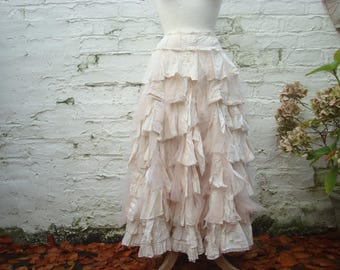 Tea stained skirt, tattered bridal skirt, upcycled wedding gown, country style wedding, western wedding, shabby chic, ruffled layered, uk