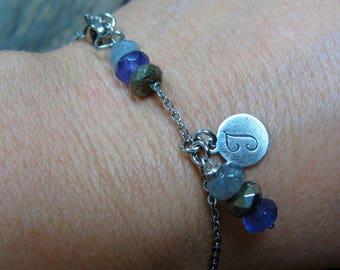 Chain Bracelet, Gemstone Bracelet, Stone Bracelet Initial Jewelry Dainty Bracelet Stone Stainless Steel Chain Bracelet Boho Bracelet