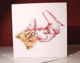 Bear Naked Lady Greetings Card