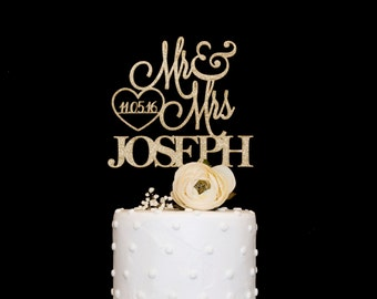 Elegant Custom Wedding Cake Topper With Date