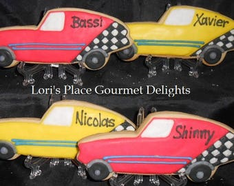 Race Car Cookies - Personalized Race Card Cookies - 12 Cookies