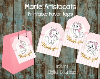 Marie Aristocats Favor Tags, Marie Party Tags, Marie Gift Tags, Marie Printable Thank You Tags, Marie Favor Labels, Marie Printable Tags