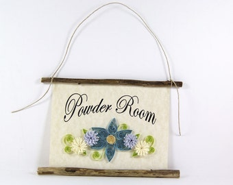 Paper Quilled Powder Room Sign, 3D Quilled Banner, Rustic Wall Art, Blue Yellow Lavender Bathroom Flowers, Paper Filigree Bath Decor